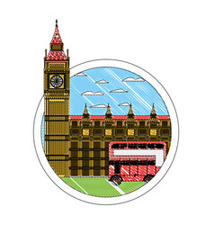 Doodle london clock tower and urban bus vector