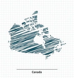 Doodle sketch of Canada map vector image