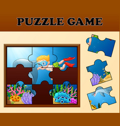 educational puzzle game for preschool children wit vector image