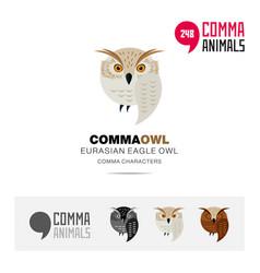 Eurasian eagle owl bird concept icon set and logo vector