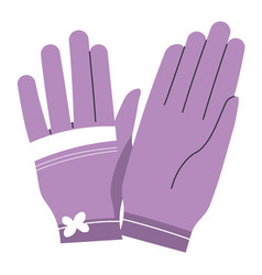 feminine gloves with floral decoration clothes vector image