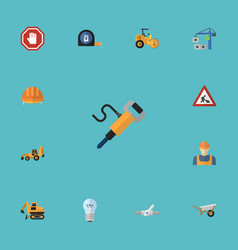 Flat icons pneumatic hardhat excavator and other vector