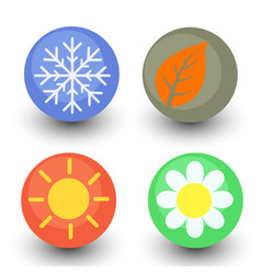 four season icon set seasonal button with glassy vector image