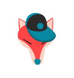 fox wearing baseball cap animal portrait cartoon vector image