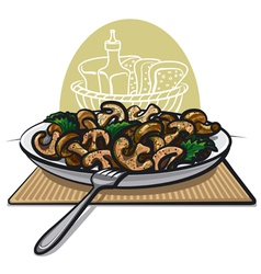 fried mushrooms vector image