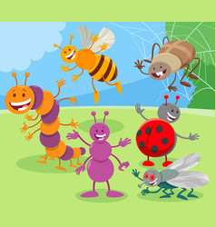 funny cartoon insects animal characters group vector image