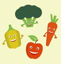 funny cartoon vegetables flat vector image