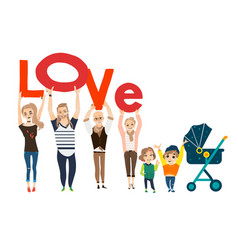 Funny family holding letters of the word love vector