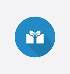Gift Flat Blue Simple Icon with long shadow vector