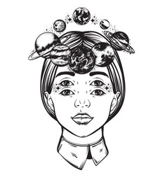 Hand drawn of womens head with planets sun and vector