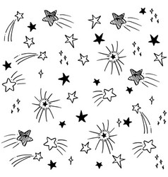 hand drawn pattern stars doodle stars cartoon vector image