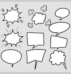 Hand drawn set of speech bubbles isolated doodle vector