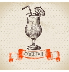 Hand drawn sketch cocktail vintage background vector image