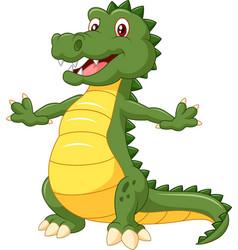 happy cartoon crocodile posing vector image