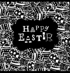 happy easter eggs pattern monochrome holiday vector image