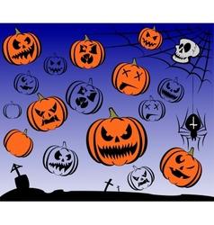 Happy halloween theme icon set vector