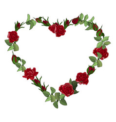 heart frame red roses flowers isolated on a vector image