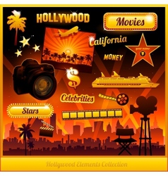 Hollywood cinema movie elements vector
