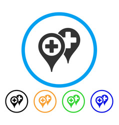 Hospital locations rounded icon vector