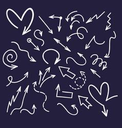 ink doodle arrows handwriting scribble sketch vector image