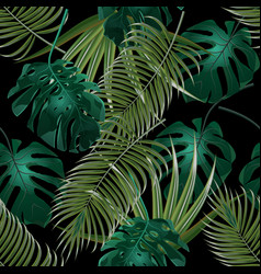 Jungle thickets of tropical palm leaves seamless vector