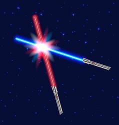 Light swords shiny fight vector