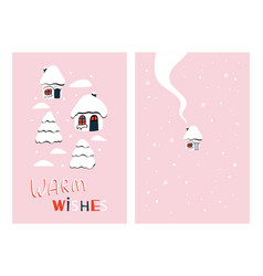 Little houses holiday card vector