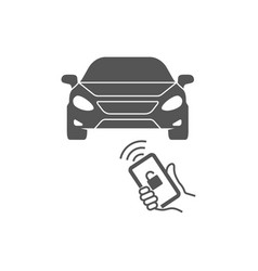 Locking car using mobile application on a smart vector