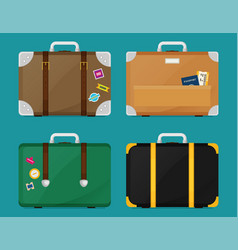 Luggage set flat colorful vector