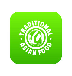 lunch asian food icon green vector image