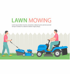 Man mowing the lawn with blue lawn mower vector