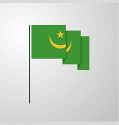 mauritania waving flag creative background vector image