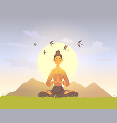 meditation girl nature vector image
