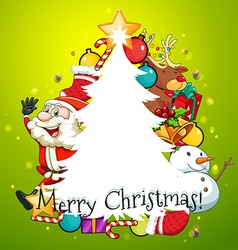 Merry Christmas card with tree and Santa vector