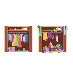 Messy clothes wardrobe modern interior storage vector
