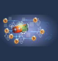 Microchip with golden bitcoins digital crypto vector
