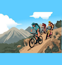 mountain bikers in the mountain vector image