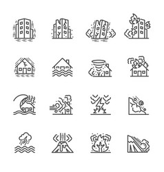 natural disaster thin line icons for natural vector image