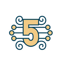 number 5 sign vector image
