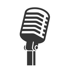 Old style vintage microphone icon on white vector