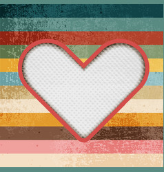 Paper heart on retro background with stripes vector