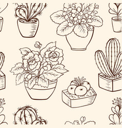 Pattern with houseplants vector
