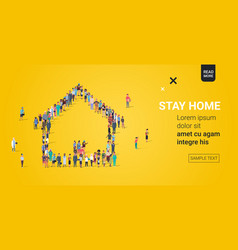People crowd gathering in house shape stay home vector