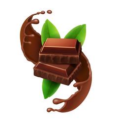 pieces of chocolate in sweet choco liquid splash vector image