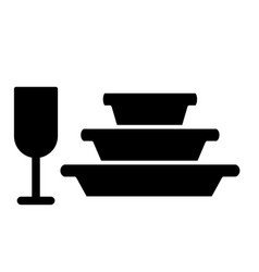 Pile plates and glass solid icon stemware and vector