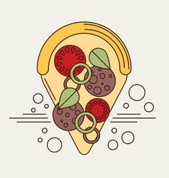 Pizza slice icon flat vector