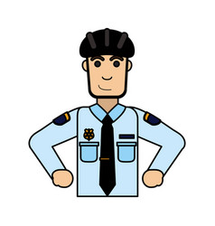Police officer wearing helmet icon image vector