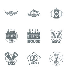 Pub house logo set simple style vector