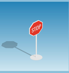 road sign stop isometric vector image