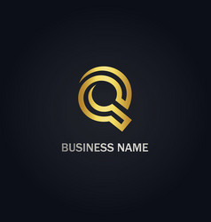 Round line q initial business logo vector
